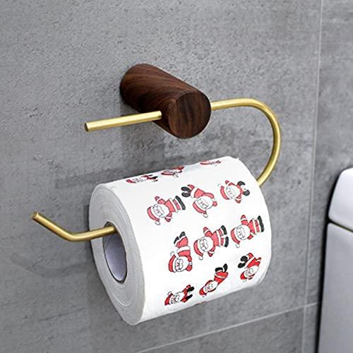 Portarrollos de papel higiénico, autoadhesivo, sin agujeros, estilo sencillo, montaje en pared de latón, portarrollos de papel higiénico para cocina y baño, inoxidable (nogal)