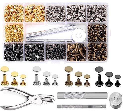 Leder Nieten Set, 360 Set Metall Doppelkappe Rive 3 Größen, 4 Farben Gold, Silber, Bronze & Gunmetal Druckknöpfe für DIY Handwerk Reperatur nähen, Handgemacht, DIY Kleidung