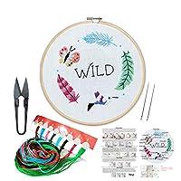 刺繍キット 刺繍フープ、カラースレッドと刺繍はさみ 初心者用 手作りニードルポイントキット 大人 子供用 BE02001