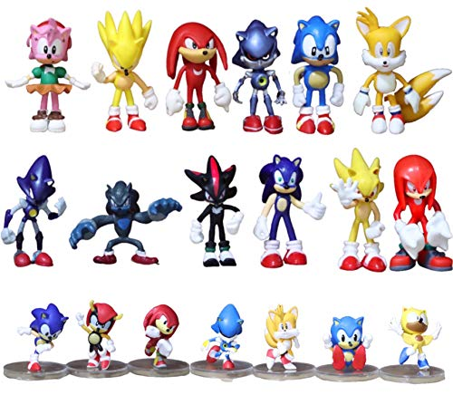 Figura 19 unids/lote Sonic The Hedgehog Shadow Tails Amy Rose PVC figuras de acción juguetes Cake Toppers
