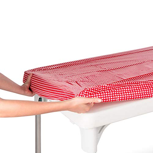 TopTableCloth Vinyl Tablecloth Plastic Red and White Checkered Tablecloths 24 x 48 inch Fitted Table Cloths for 4 Foot Elastic tablecloths Rectangular Holiday Picnic Table Covers for Folding Table