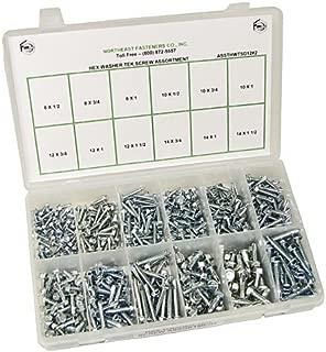 NEF Self Drilling Screw Assortment, Hex Washer Head Drill Point Screws, 500 Piece Kit
