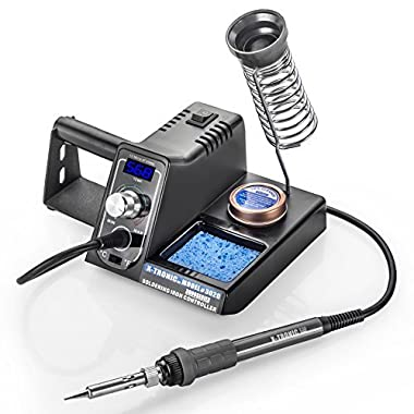 X-Tronic Model #3020-XTS Digital Display Soldering Iron Station - 10 Minute Sleep Function, Auto Cool Down, C/F Switch, Ergonomic Soldering Iron, Solder Holder, Brass Tip Cleaner with Cleaning Flux