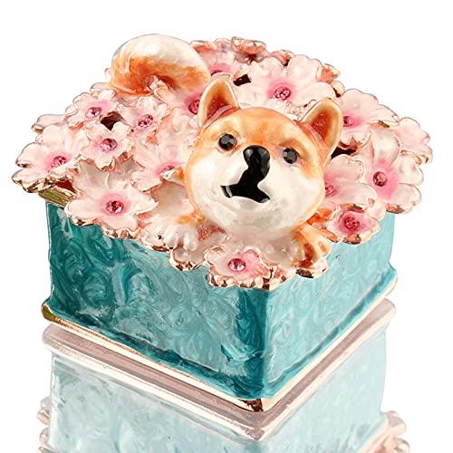 BONAKULA Caja de baratijas para cachorros, diseño de flores de cerezo, decoración para el hogar, oficina, coleccionable (azul)