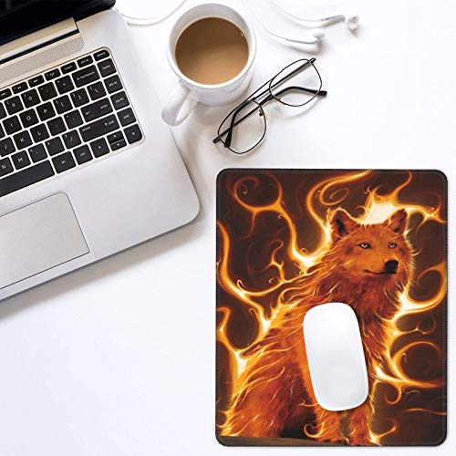Joekaory Fire Wolf Animal Print Mouse Pad Gaming Non-Slip Rubber Base Cute Mousepads Mouse Mat for Office Home Laptop Trave (9.8x11.8inch)