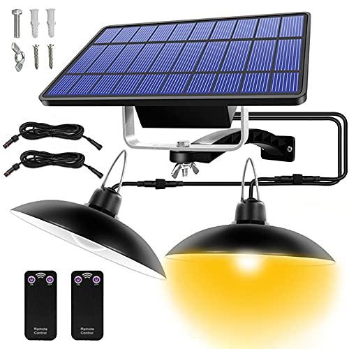 Lámpara solar colgante para exterior, con 2 modos, resistente al agua IP65, panel solar ajustable a 180°, con mando a distancia, para jardín, camping, decoración del hogar, garaje (luz cálida)