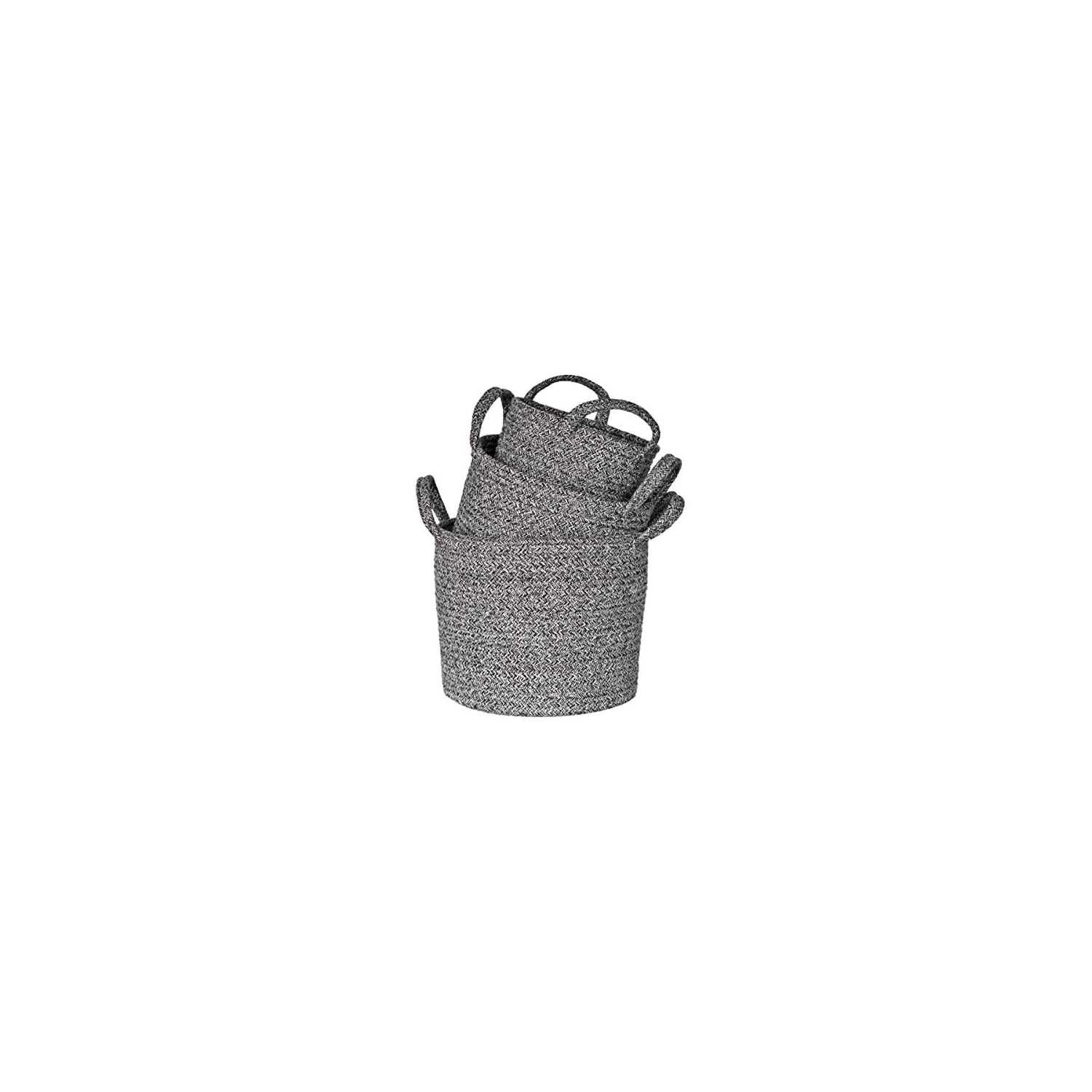 Cotton Rope Woven Basket Set of 3, Storage Basket with Handles & Decorative White Threads, Toy Basket, Laundry Basket, Plant Basket, Pet Basket, Gift Basket (Grey)