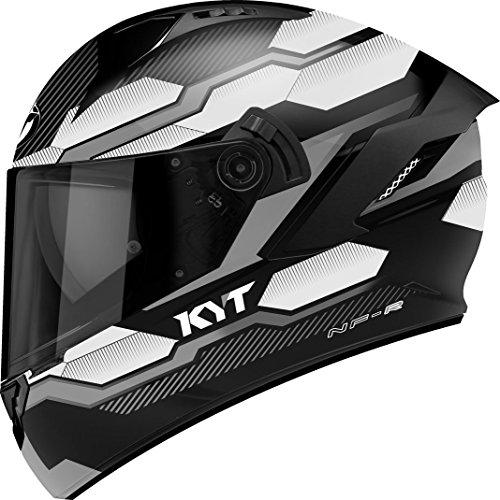 KYT Casque Moto Integral Nf-R, Hexagon Matt Argent, Taille S 55-56 cm