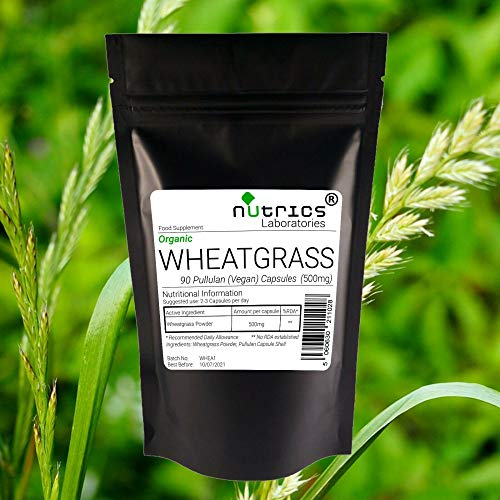 Nutrics 100% Pure 500mg Organic Wheatgrass 180 Vegan Capsules (2 Month Supply) |Made in The UK by Nutrics Laboratories |Suitable for Vegan Vegetarian Halal Kosher