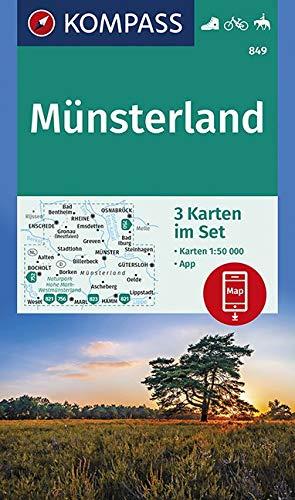 KOMPASS Wanderkarte Münsterland: 3 Wanderkarten 1:50000 im Set inklusive Karte zur offline Verwendung in der KOMPASS-App. Fahrradfahren. Reiten. (KOMPASS-Wanderkarten, Band 849)