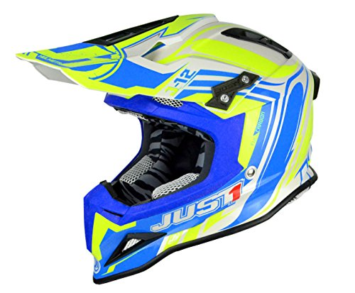 Just 1 Helmets - Casco Motocross J12, Giallo/Blu, S