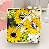Watopi - Ramo de jabón para mujer con caja de regalo cuadrada para el día de San Valentín, día de la madre, cumpleaños, boda