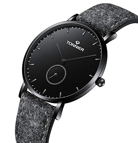 Tonnier Ultra-Thin Men Watch Deep Gray Woollen and Cowhide Leather Strap with Independent Second Hand Dial Mans Quartz Watches Black Watchface