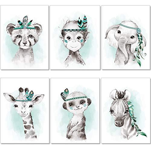 artpin® Juego de 6 imágenes para habitación infantil, niños y niñas, en verde menta, plumas grises – Póster, bosque, selva, habitación de bebé, animales indios P62