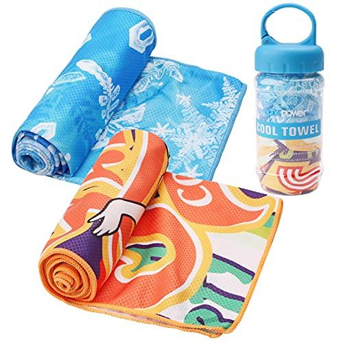 Jodsen Kühlendes Handtuch,schnell trocknende Sporttücher mit Aufbewahrungsflasche,100 x 30 cm eiskaltes Sporttuch für Beach Yoga Travel Climb