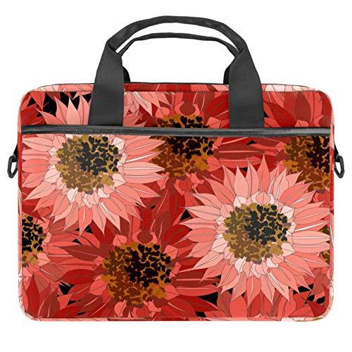 Laptop Shoulder Bag 15 Inch Briefcase Document Messenger Bag Business Handbag with Handle & Shoulder Strap Red Sunflowers