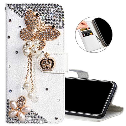 Obesky Coque pour Huawei Y7 2019 / Y7 Prime 2019, 3D Brillante Diamant PU Cuir Portefeuille Flip Case avec Fentes de Cartes Fermeture Magnétique Fonction Support Protecteur Bumper, Papillon Perle