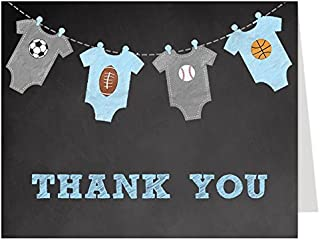 Sports Thank You Cards, Chalkboard, Baby Shower, Boys, Football, Soccer, Baseball, Basketball, All Star, MVP, Kids, Little Champ, Set of 50 Folding Notes with White Envelopes, Chalkboard MVP