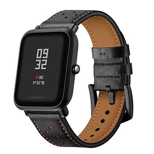 AISPORTS Amazfit Bip Strap Lederen 20mm Smart Horloge Vervanging Band Vrouwen Mannen Polsband Armband Polsband voor Amazfit Bip/Samsung Galaxy Horloge 42mm/Galaxy Horloge Actieve 40mm/Gear Sport, Zwart