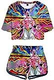 YUNZHONG Dragon Ball Cosplay Anime Mujer Set T Shirt Falda Pantalones Cortos Ropa de Cama Casual Disfraz Camiseta Top-XL