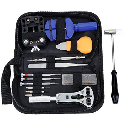 Coolty - Juego de herramientas de reparación de relojes, 14 unidades, portátil,...