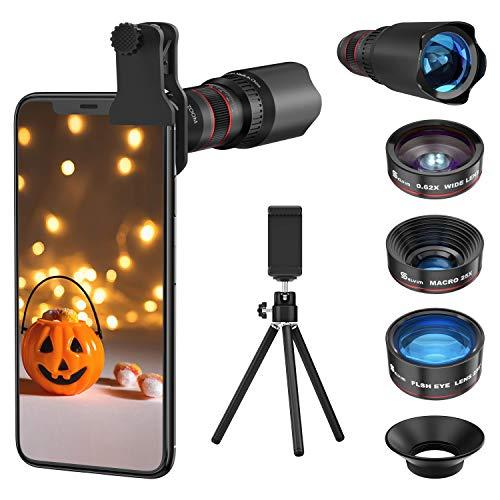 Selvim Smartphone-Objektiv-Set, aktualisierte Version mit Blu-ray-Objektiv für bessere Auflösung, 25 x Makro-Objektiv, 0,62 x Weitwinkel, Fisheye 235, 22 x Teleobjektiv, universelle Kompatibilität.