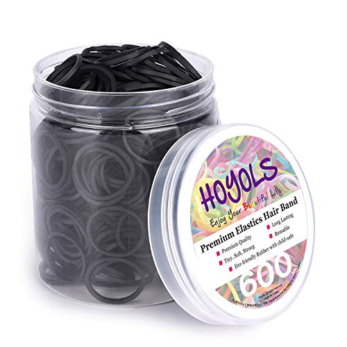 """3/4"""" Inches Black Hair Rubber Bands for Hair Ties Small Elastics Bands Large Hair Braiding Ponytail Holders for Baby Toddler Girls Infants Kids Thick Hair Mini Black Rubber bands No Damage for Crafts Office 600pcs (M) by HOYOLS"""
