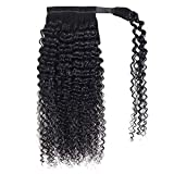 Seelaak 100% Human Hair Ponytail Extension Wrap Around Curly Ponytail Extension Kinky Curly Hairpiece with Magic Paste Binding Pony Tails Hair Extensions for Black Women (14inch)