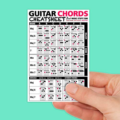 Best Music Stuff Guitar Chords Cheatsheet Laminated Pocket Reference (Small - 4-in x 6-in)