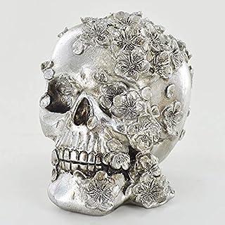 comprar comparacion Adorno de calavera plateada con flores de Prezents.com – Novedad gótica decoración de Halloween