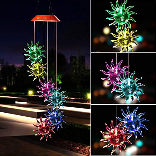 Wind Chimes Outdoor,Solar Color Changing Solar Light Wind Chimes, for Garden,Home, Party, Festival, Night Decoration(Sunflower)