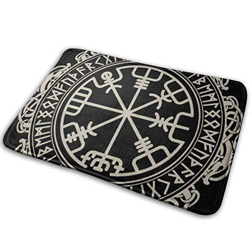 Viking-Runen-nordische Mythologie-Fußmatte, für drinnen und draußen, stark frequentierte Bereiche, Willkommenseingangs-Teppiche, 60 x 40 cm