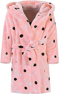 SUNBIBE Toddlers//Kids Hoodie Robe Soft Flannel Bathrobes Children Pajamas Cartoon Print Baby Plush Robe Towel Night Gown