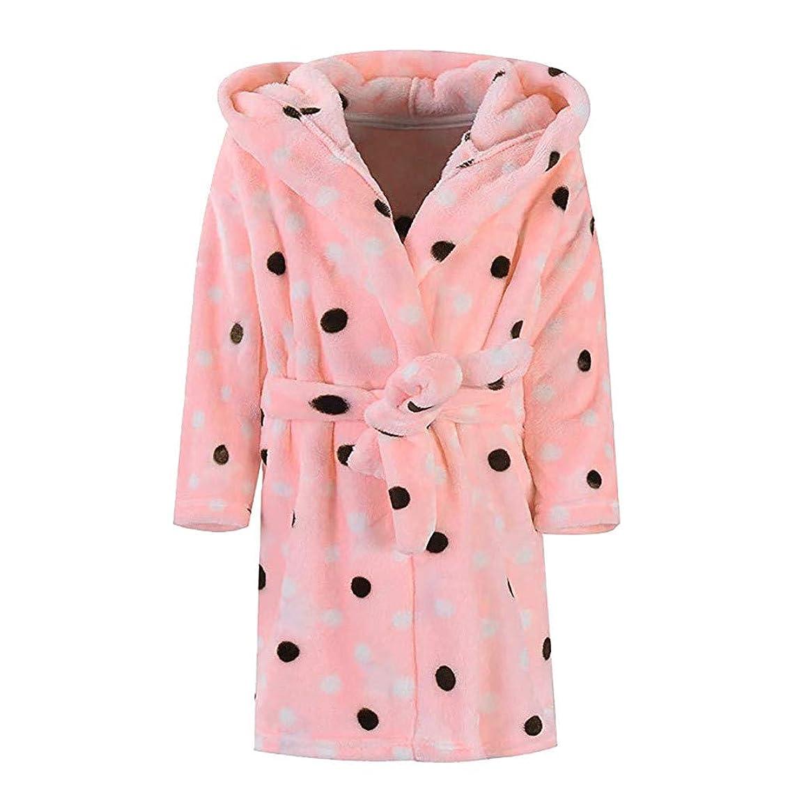 SUJING Unisex Children's Baby Print Flannel Bathrobes Hoodie Towel Pajamas Night Gown