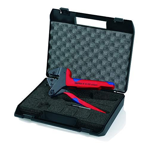 KNIPEX 97 43 200 Crimp-Systemzange für auswechselbare Crimpeinsätze brüniert mit Mehrkomponenten-Hüllen 200 mm