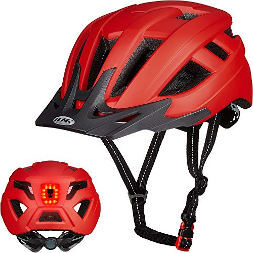 ILM Adult Cycling Bike Helmet with LED Rear Light Lightweight for Men Women Urban Commuter MTB Bicycle (Red, S/M)