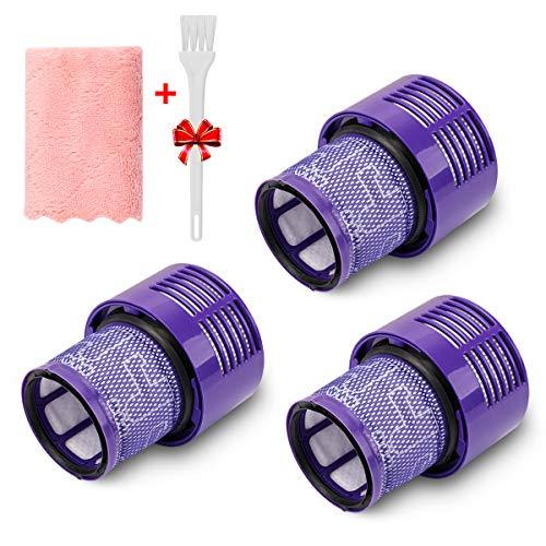 morpilot 3PCS Filtros Lavables de Reemplazo Compatible con Dyson Aspiradora V10 Cyclone, V10 Absolute, V10 Animal, V10 Total Clean, SV12, Reemplazo para No. 969082-01