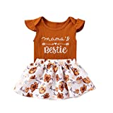 Toddler Infant Baby Girl Summer Clothes Mama's Bestie Shirts Rompers+Sunflower Tutu Skirts Outfits Clothing Set (18-24 Months,Brown Romper)