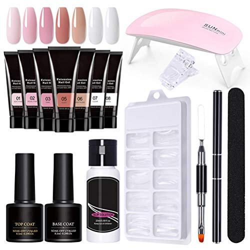 Nagelverlängerung Gel Set, Nägel Polygel Nail Kit mit 7 Farbe Verlängerungskleber Polygel Set Starterset Gel Polish Starter Kit Nageldesign Polygel Set mit UV Lampe für Anfänger