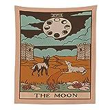 Tapiz de lobo diosa de la luna colgante de pared tarjeta de tarot tapiz de adivinación retro hippie manta de tela colgante A8 180x200cm
