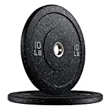papababe Bumper Plates, Hi-Temp Olympic Weight Plates with Colored Fleck-Rubber Weights Plates for Weight Lifting and Strength Training