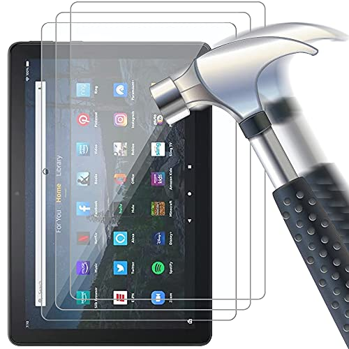 Msm-case Cristal Templado Protector Pantalla para Fire HD 10 Tablet und Fire HD 10 Plus 10,1,Dureza 9H, Anti-arañazos, Anti-Aceite, Anti-Burbujas, Borde Redondo 2.5D, Transparente (3 Paquete)