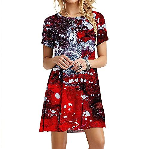 Vestido Maxi De Mujer,Vestidos De Mujer Suave Y Cómodo Patrón Abstracto Rojo Estampado 3D Manga Corta Talla Grande Maxi Vestido Swing Falda Fiesta De Verano Bata De Todos Los Días Vestidos Largos