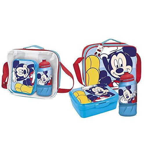 Cerdá - Portameriendas Termico con Botella Infantil y Tupper para Niños de Mickey Mouse - Licencia Oficial Disney Studios®