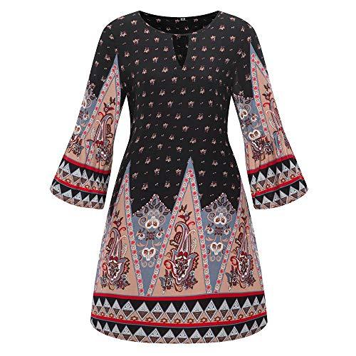 iHENGH Damen Frühling Sommer Rock Bequem Lässig Mode Kleider Frauen Röcke Große Größe Frauen Casual Langarm Minikleid Abend Partykleid