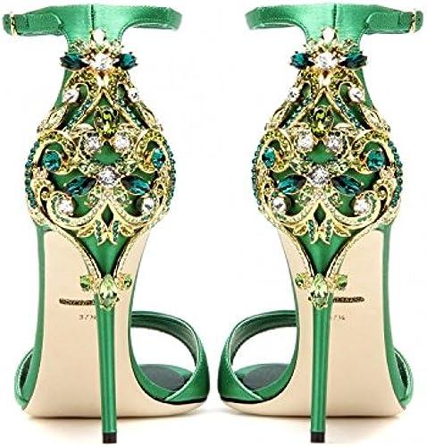 ZHUDJ Chaussures Grande Taille à Talons Hauts avec Une Fine Atmosphère D'été Sandales Taille Guichao