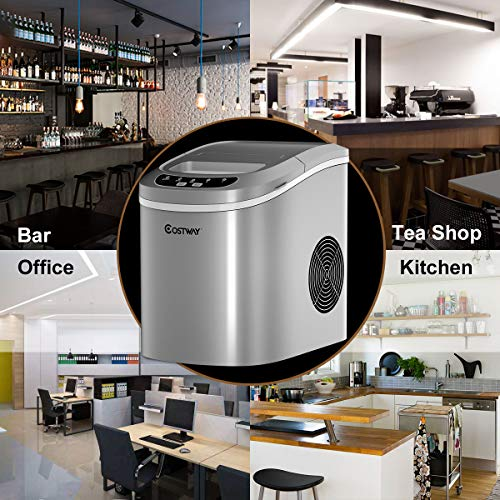COSTWAY Ice Maker for Countertop, 26LBS/24H Portable & Compact Ice Maker Machine, Ice Cubes Ready in 6 Mins, Electric High Efficiency Express Clear Operation Control Panel with Ice Scoop (Silver)