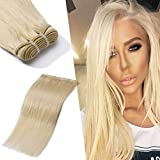 100% 7A Brazilian Remy Human Hair Weave Platinum Blonde Sew in Hair Extensions Double Weft Silky Straight One Bundle...