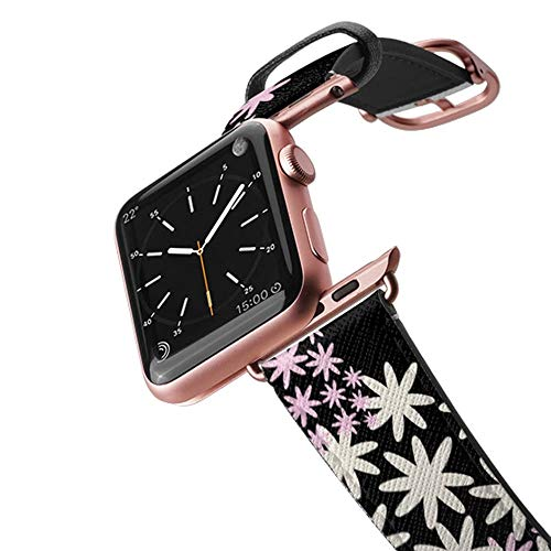 Casetify Floral Flower Bands Compatible for Apple Watch Bands 38mm 42mm with Rose Gold Stainless Steel Buckle Replacement Band for iWatch Apple Watch Series 4 Series 3 Series 2 Series 1 (Star Florals)