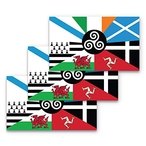 3x5 Celtic Nations Flag Sticker 3-Pack Made with Durable Waterproof Materials Flag of The Celtic Nations Bumper Sticker Celtic Bumper Sticker Celtic Flags Bumper Sticker